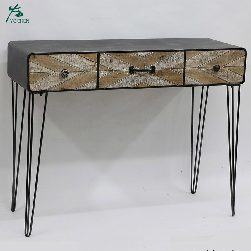 Wooden frame antique console table with three drawers