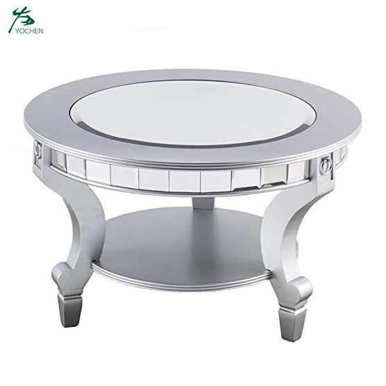 Silver Wood Coffee Tables Round Mirrored Coffee Table