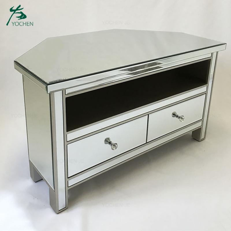 Wood Glass Mirror Tv Table Stand Modern, Mirrored Glass Corner Tv Stand