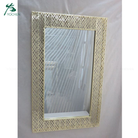 Home decorative rectangle metal and glass wall mirror