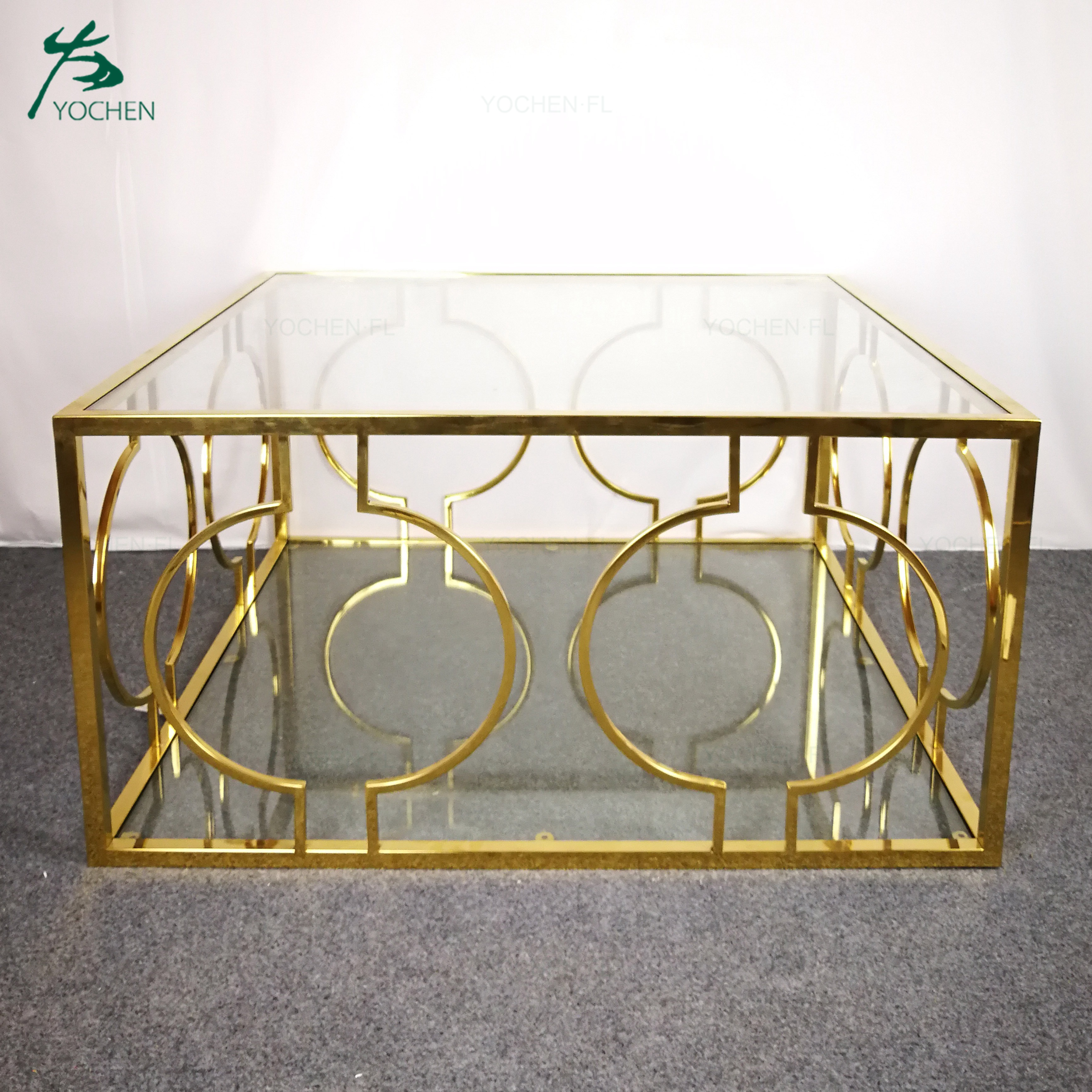 square metal table glass top living room coffee side table