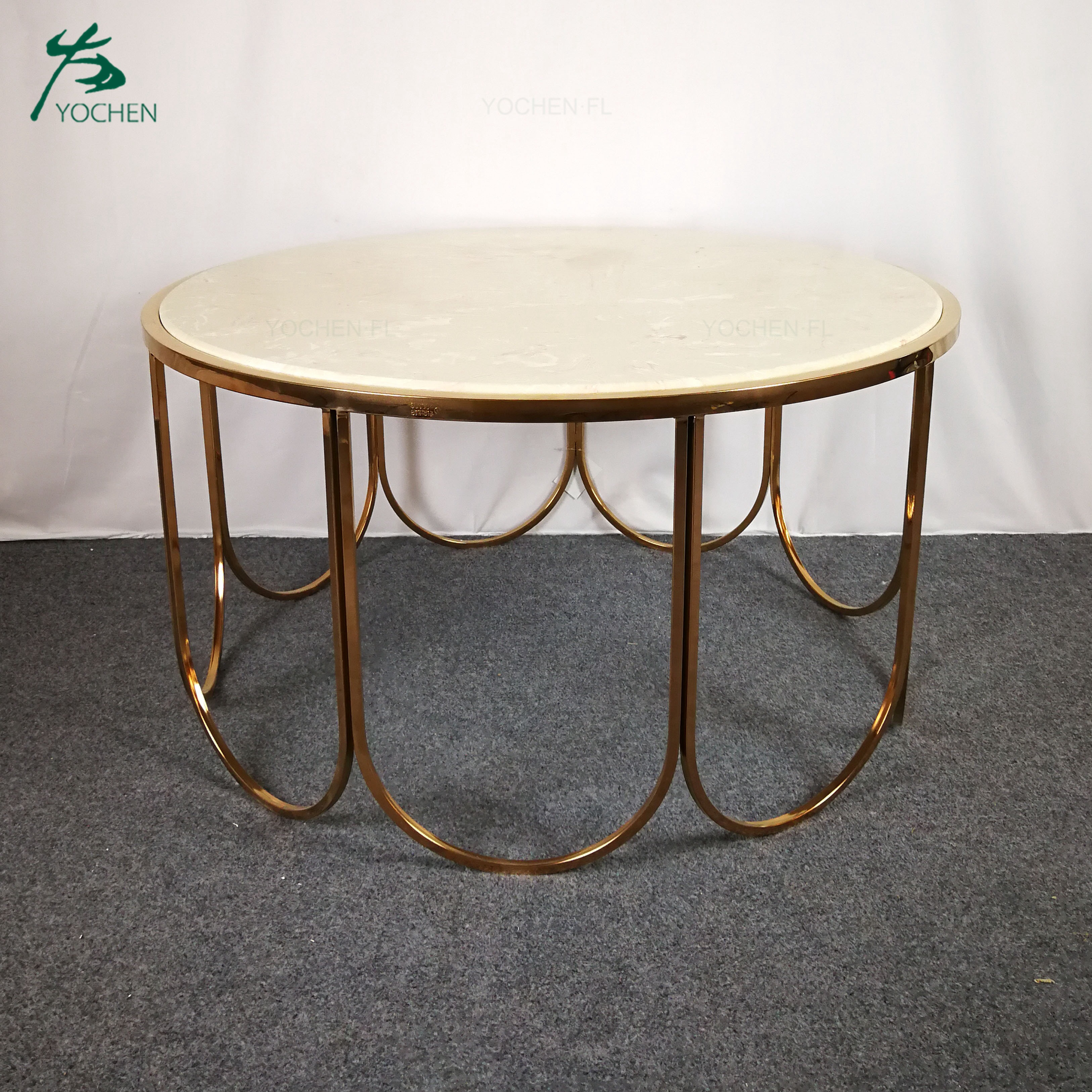 luxury white marble top shining golden metal coffee table