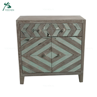 living room cabinet furniture MDF panel natural color mirror cabinet