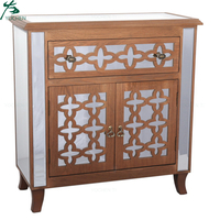 Living room luxury silver accent chest mirrored cabinet with drawers