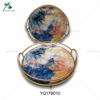Gold color handle marble serving metal tray