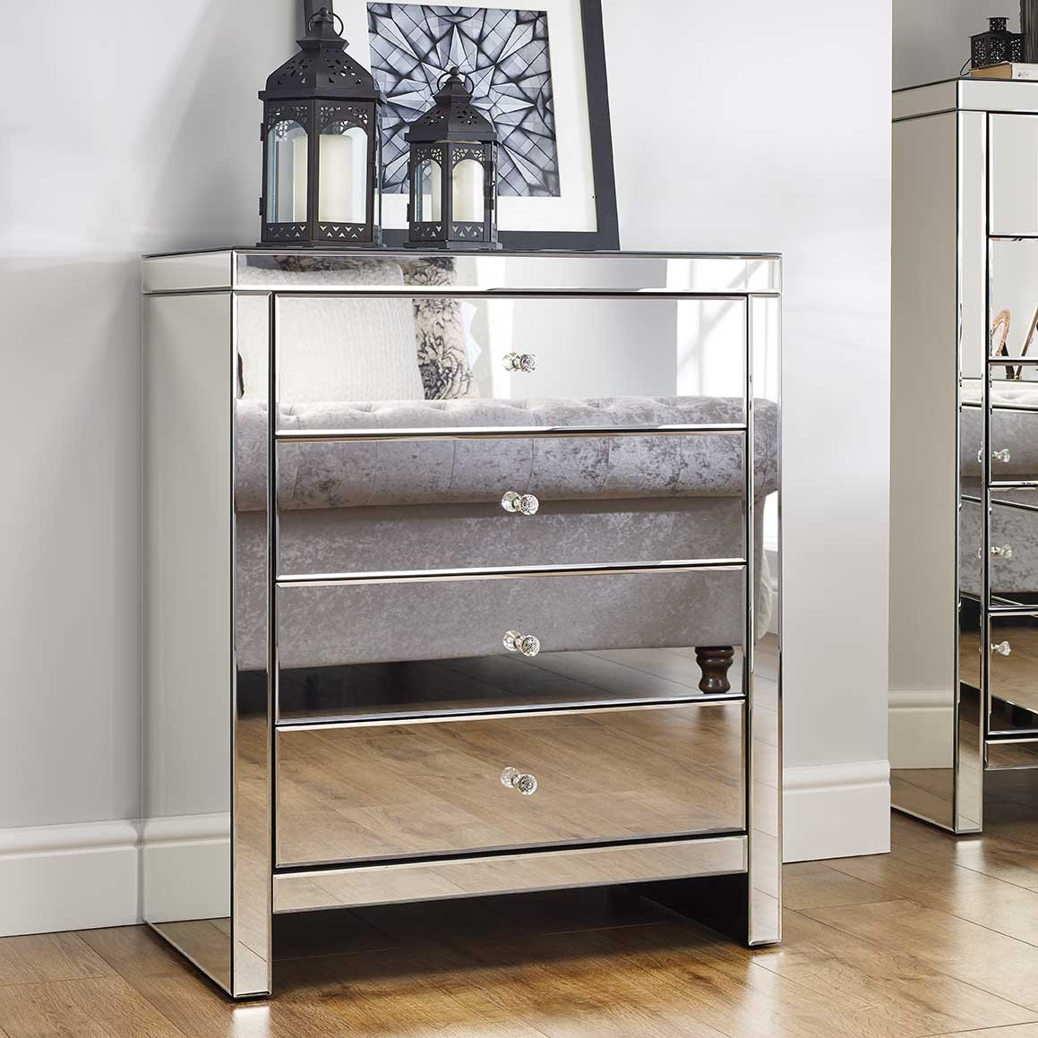 silver mirrored furniture 6 drawer chest
