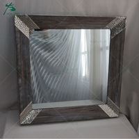 Wall mounted bathroom hotel metal frame antique mirror