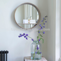 round wooden frame mirror for room decoration