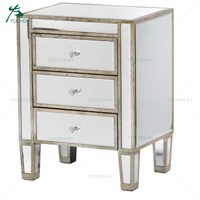 Shabby Chic Silver Trim Night Table with Three Slim Drawers