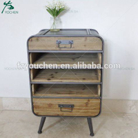 Loft Wood Metal 2 Drawer 2 Shelf Chest of Drawers Storage Cabinet