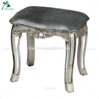 Antique Silver French Mirrored Glass Dressing Table Stool