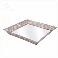 Punched Metal Iron Indian Mirror Tray Small in Square