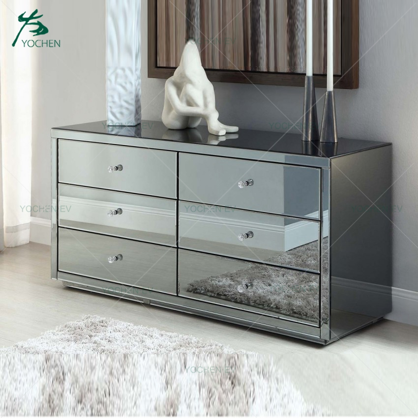 6 Drawers Smoke Grey Mirrored Chest Furniture
