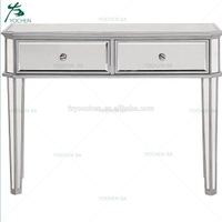 2 Drawer Mirrored Console Table Antique Silver Paint