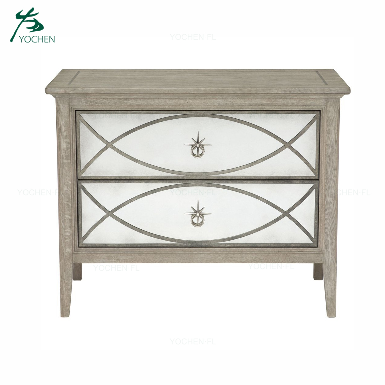 natural wood carving storage mirror side table living room furniture