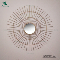 Large size decorative sunburst antique wall metal mirror