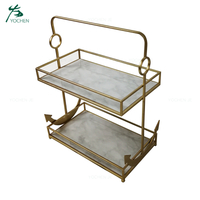 2 Tier Tray Stand Decorative Metal Marble Serving Tray