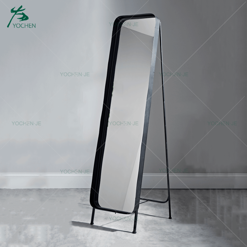 Black metal framed floor standing mirror full length dressing mirror