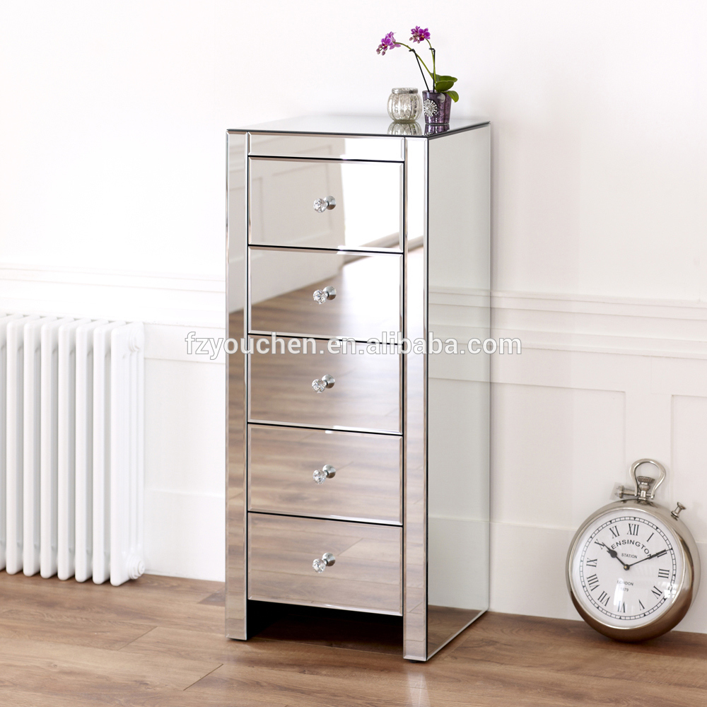 Wooden Tallboy Cabinet Venetian Mirrored Furniture