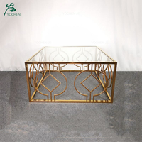 Glass top decorative gold printed metal base console table