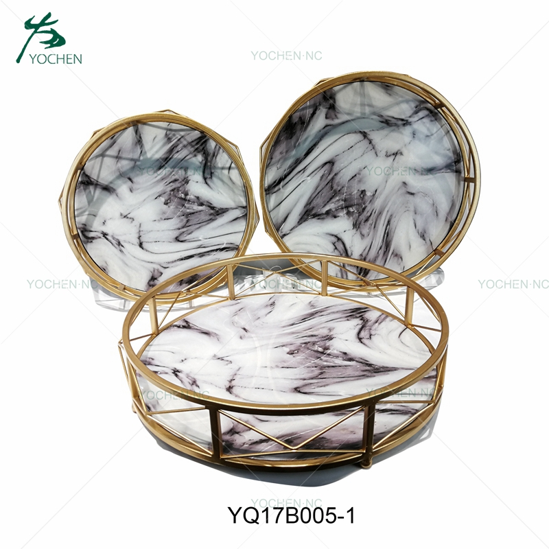 Faux marble tray serving metal tray