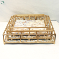Modern Accent Trays 3 Piece Rectangle Grid Tray Set Marble Tray Gold Frame