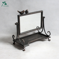 Small make up mirror antique standing metal mirror