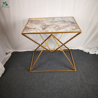Rectangular Gold-Plated Metal Frame Side Table Marble Top End Table