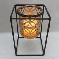 Factory direct sale modern tabletop geometry tealight iron candleholder