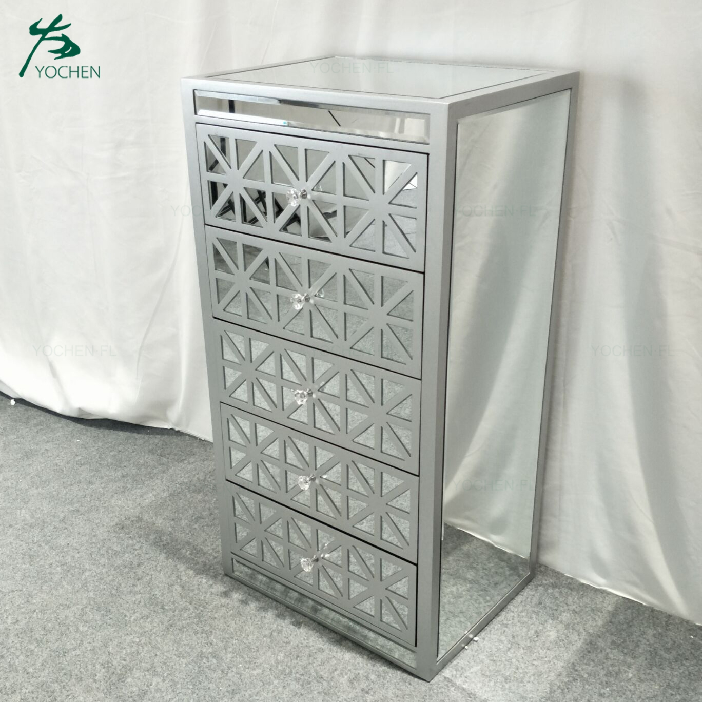 living room decorative silver color painted mirrored tallboy cabinet