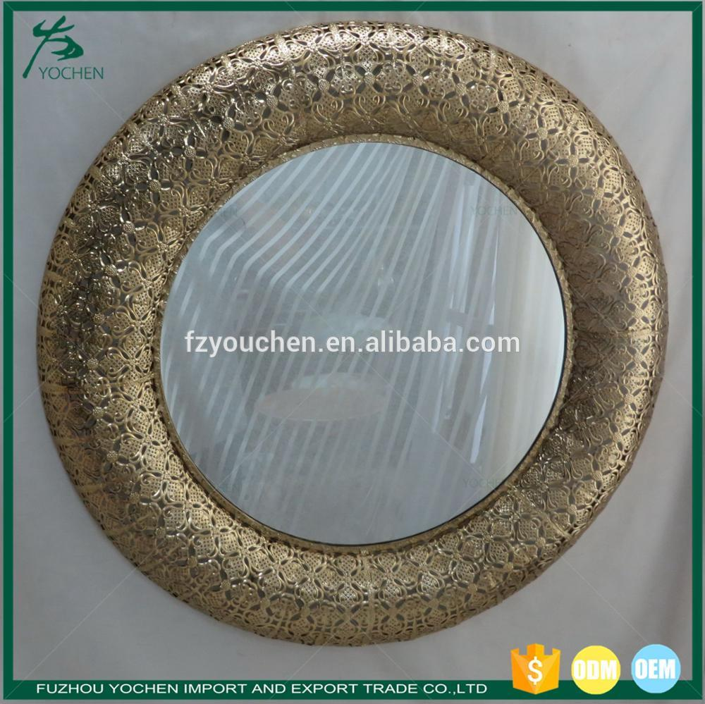 Modern Bathroom decorative antique gold round wall mirror