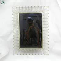 Rectangular Gold Metal Mirror Home Decoration