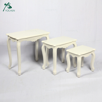 luxury living room furniture white wood panel side table sets