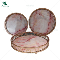Home use round metal framed mirrored table tray