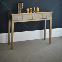 Art deco bedroom dressing table furniture 3 drawer mirrored console table