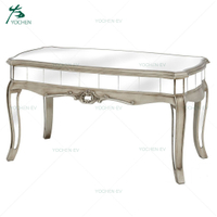 Low Antique Silver Mirrored Coffee Table