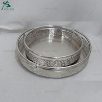 Antique Round Silver Metal Mirrored Serving Tray