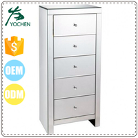 Silver Mirrored 5 Drawers Tall Boy Cabinet