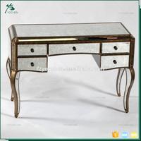 Italian Luxury Mirrored 5 Drawer Console Table Antique