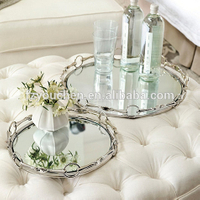 Metal Silver Round Mirror Candle Plate Tray