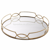 home decoration antique gold plate mirror metal serving tray