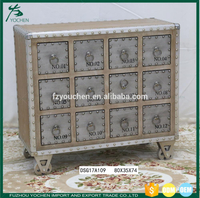 Shabby chic Aluminum Wood 12 Drawer Unit Wholesale Furniture