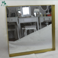 Rectamgular Brushed Gold Wall Framed Mirror