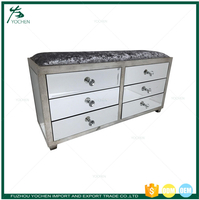 Contemporary Antique Silver Mirrored 6 drawer Chest of Drawers