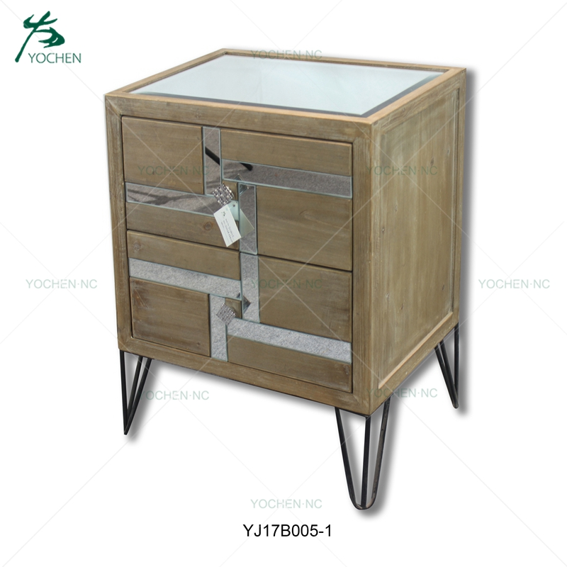 Bedroom furniture 2 drawer wood night stand bedside table