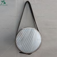 Bathroom Round Wall Mirror with Leather Strap
