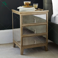 Antique gold new design 3 drawer mirror night stand bedside table