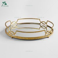 Jewelry Display Tray Gold Mirrored Tabletop Metal Tray