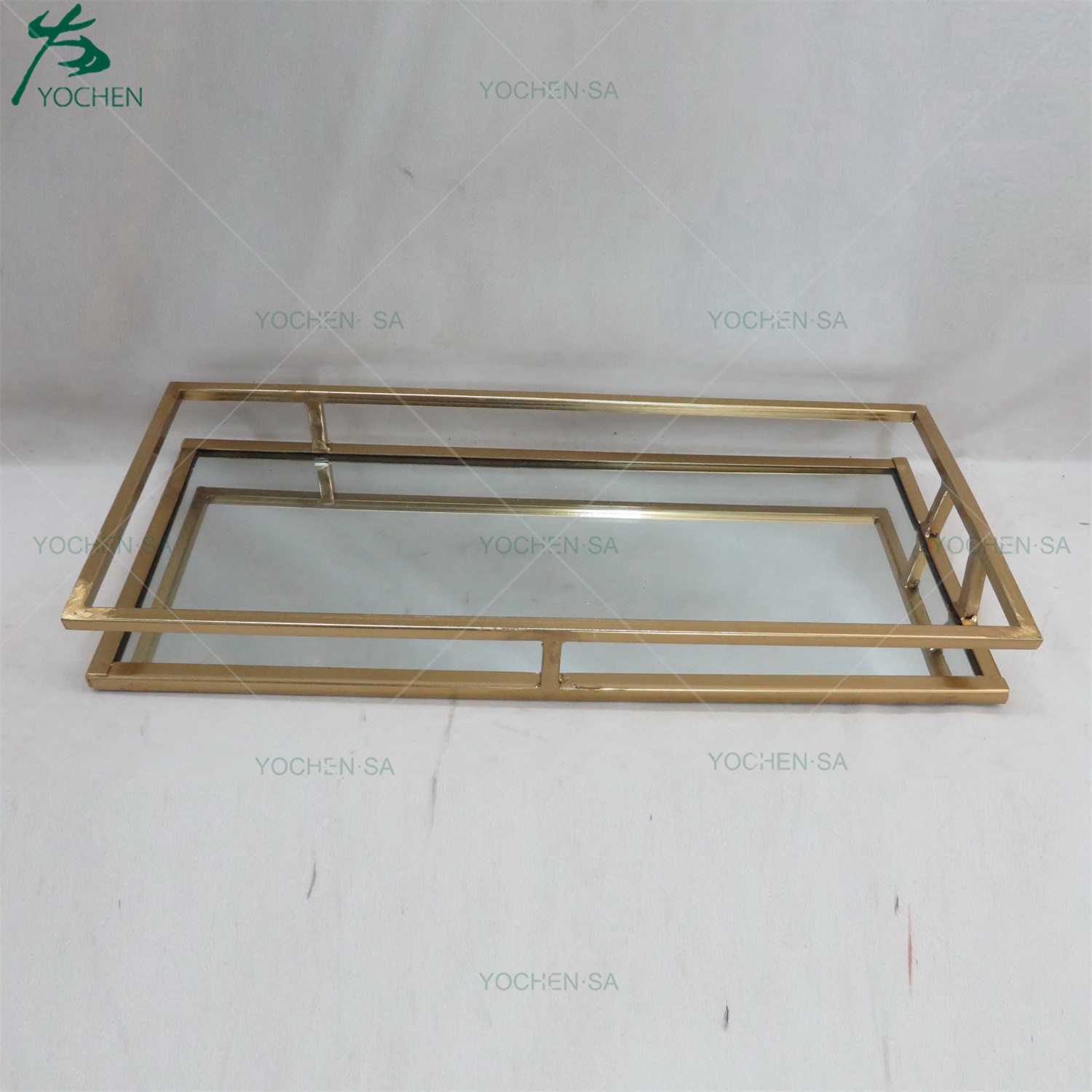 Rectangle Framed Metal Gold Plated Mirrored Serving Tray