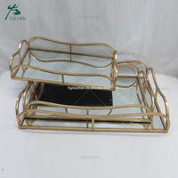 rectangle metal frame modern silver mirror tray set